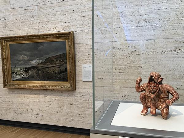 Rain God Vessel, c. 1100–1400 Ancient American. Back; La Pointe de la Hève at Low Tide, 1865 Claude Monet.