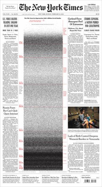 NYT Coronavirus Front Page