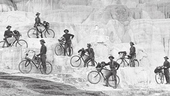 During their 1896 excursion from Fort Missoula, Mont., to Yellowstone National Park, riders of the 25th Infantry Bicycle Corps, led by 2nd Lt. James A.