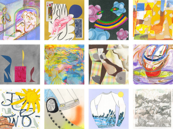 Works by multiple artists for OK Mountain 7x7 drawing series