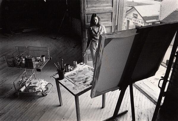 Carol Ivey in her art studio 1977