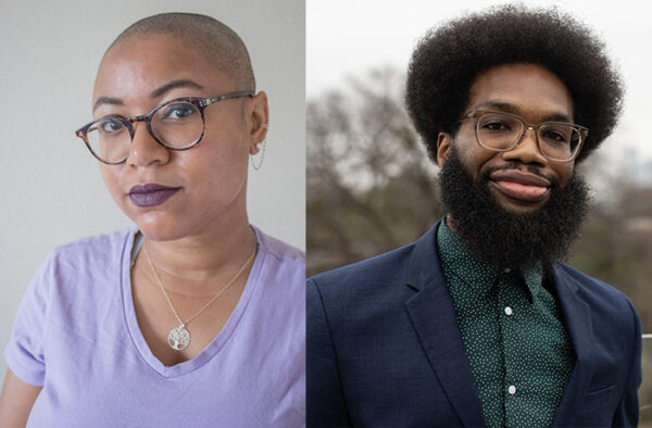 Winners of the 2021 Tito's Prize, left, Ariel René Jackson in collaboration with Michael J. Love