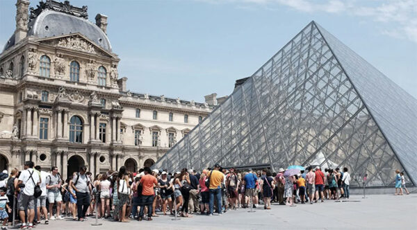 visitors at the Louvre in Paris