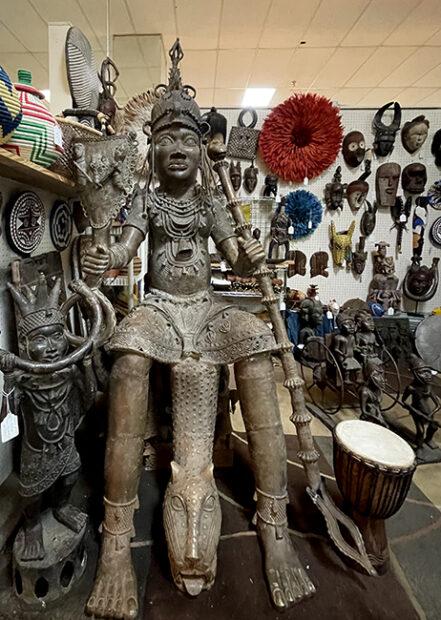 Bronze Benin figure at a Houston Antique shop