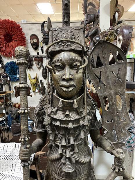 Close-up of Bronze Benin statue at a Houston Antique shop