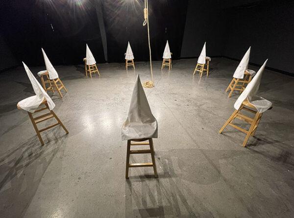 "Gary Simmons, ""Duck Duck Noose, 1992,"" wood, cloth, metal and hemp."