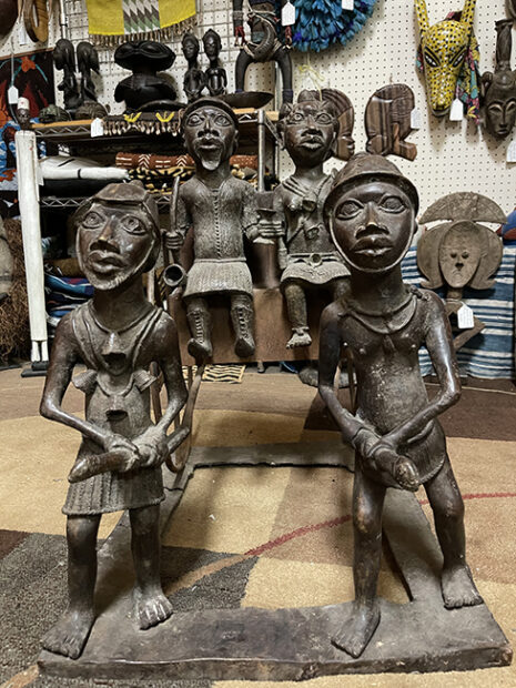 Four bronze figure from Benin, at a Houston Antique shop
