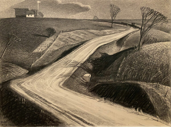 Grant Wood March drawing country road