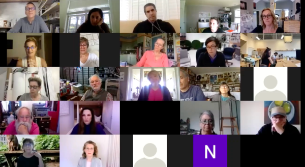María Carolina Baulo speaks at an online discussion with the Texas Sculpture Group