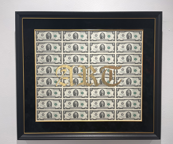 ART Money II, 2021 Rare uncut $2 USD currency, spray paint, gold leaf