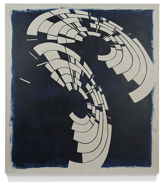 Annette Lawrence, Blue Composite, 2019, acrylic transfer and acrylic on linen