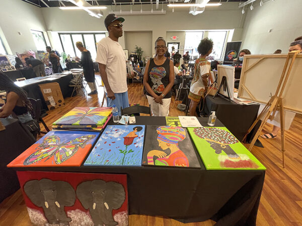 Artist Jill's booth at the DeLuxe Theater, 5th Ward, Houston Juneteenth 2021