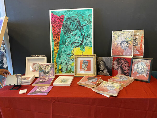 Artist Vernon Akill's work at the Houston Museum of African American Culture's Juneteenth Celebration, 2021