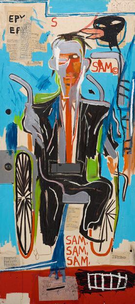 """Jean-Michel Basquiat """"Sam F, 1985,"""" Oil on door"""