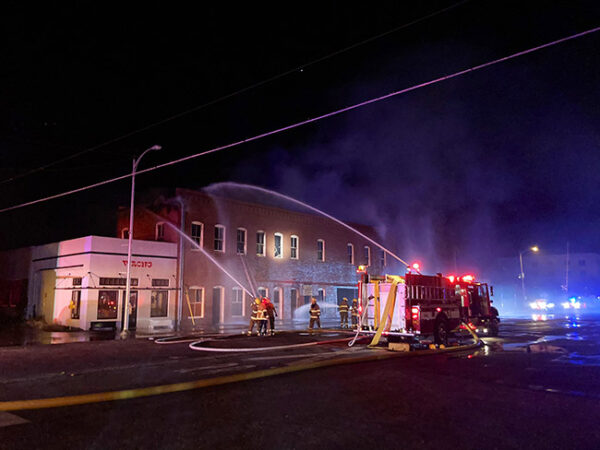 Donald Judd Architecture Office Building Fire, June 4, 2021. Photo Credit: Travis Bubenik @travisbubenik Twitter.