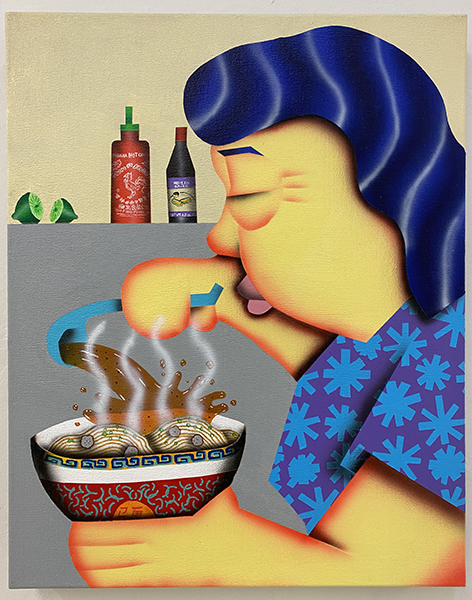 """Loc Huynh, Mom Making Pho, 2021, Acrylic on Linen, 20x16"""", courtesy of Joey Luong"""