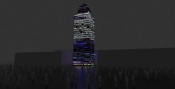 """Rendering of Refik Anadol's video installation """"Pioneer Tower Dreams."""""""