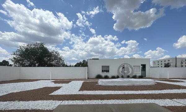 Outdoor installation from Donna Huanca's Espejo Quemada at Ballroom Marfa