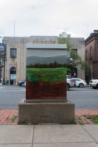 A painted electrical box in downtown Northampton, Massachusetts
