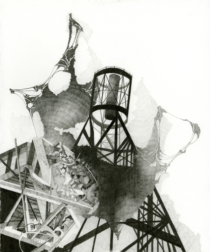 Atlas #1,Ruins Projection (Hooker),Graphite on Paper, 12