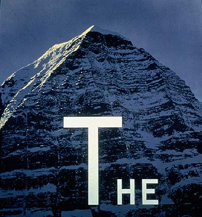 Ed Ruscha's The Mountain, 1998, acrylic on shaped canvas, 76 x 72 inches