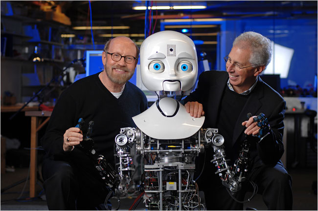 Frank Moss, right, of the M.I.T. Media Lab, and David Kirkpatrick, left, of the Center for Future Storytelling, with a friend. (photo borrowed from the NYT website)